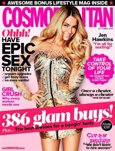 Jennifer Hawkins featured on the Cosmopolitan Australia cover from October 2012