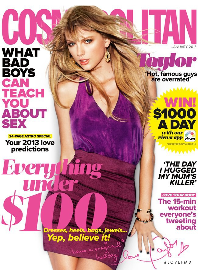 Taylor Swift featured on the Cosmopolitan Australia cover from January 2013