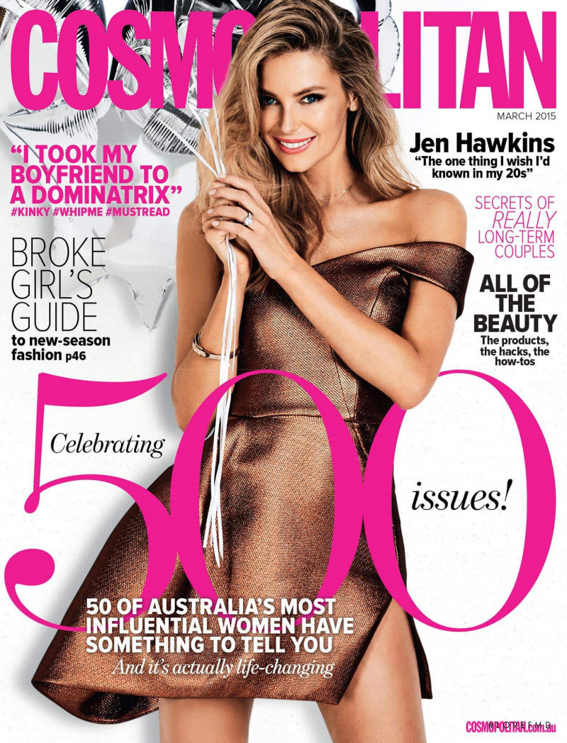 Jennifer Hawkins featured on the Cosmopolitan Australia cover from March 2015
