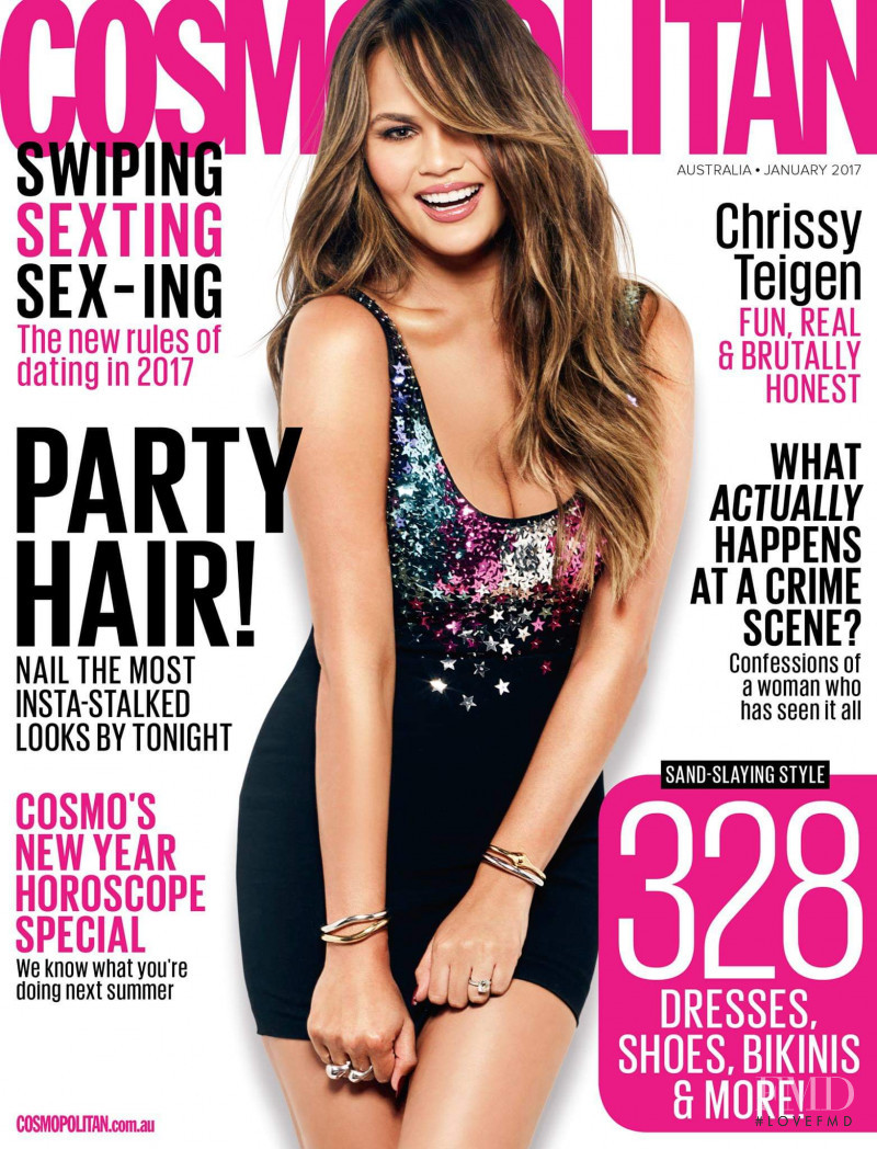 Christine Teigen featured on the Cosmopolitan Australia cover from January 2017