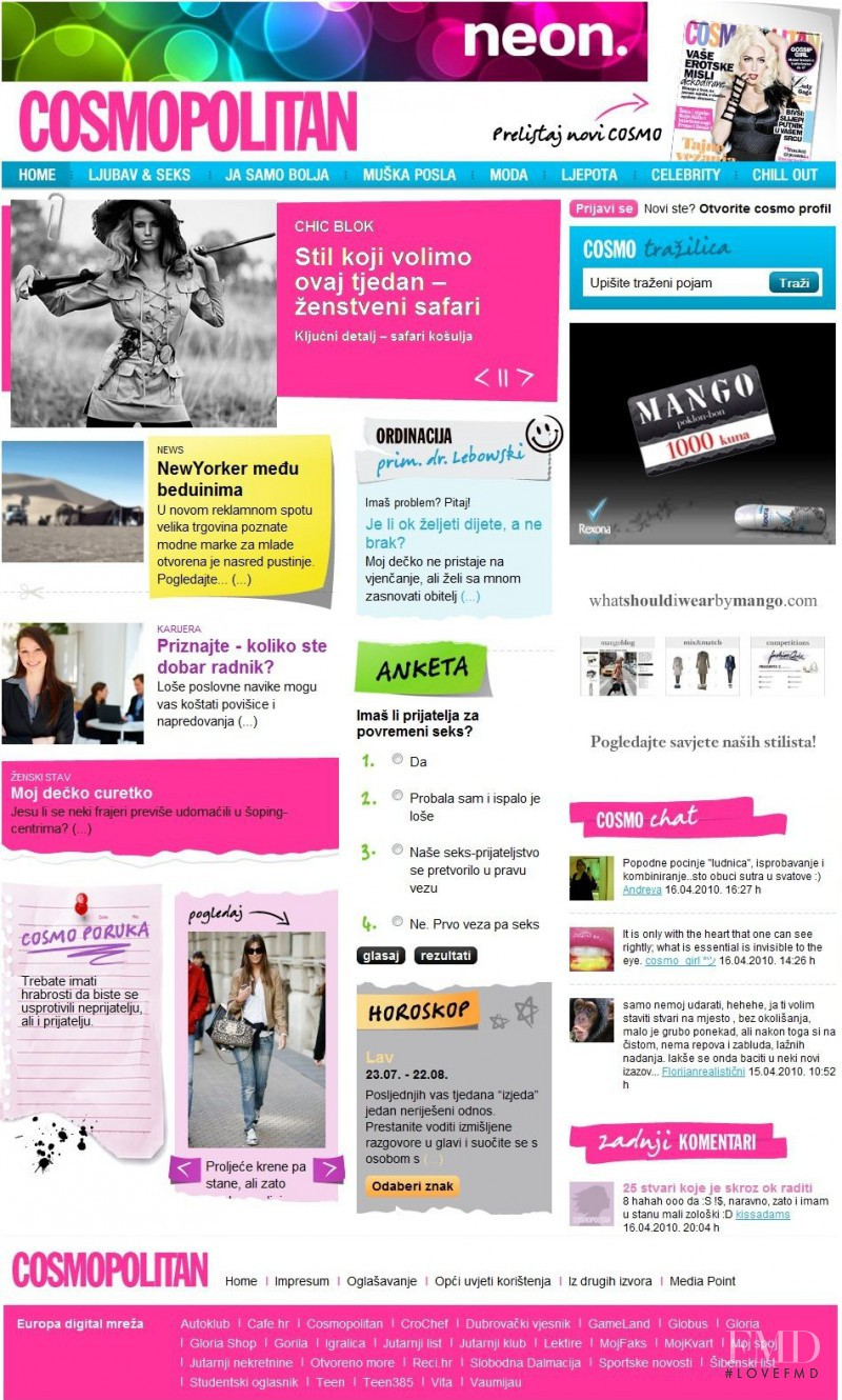 featured on the Cosmopolitan.hr screen from April 2010