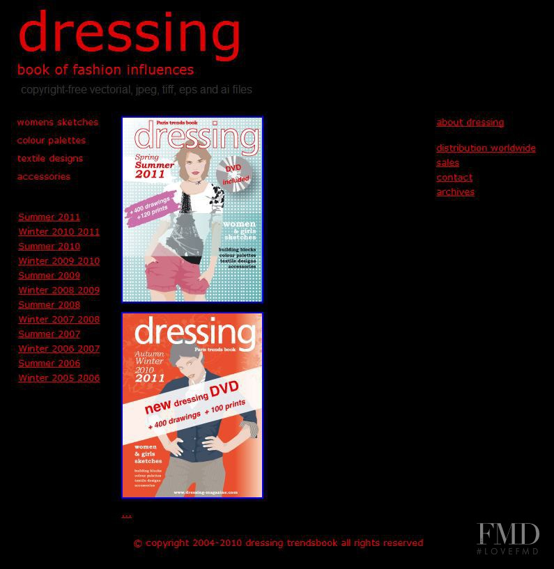 featured on the Dressing-Magazine.com screen from April 2010