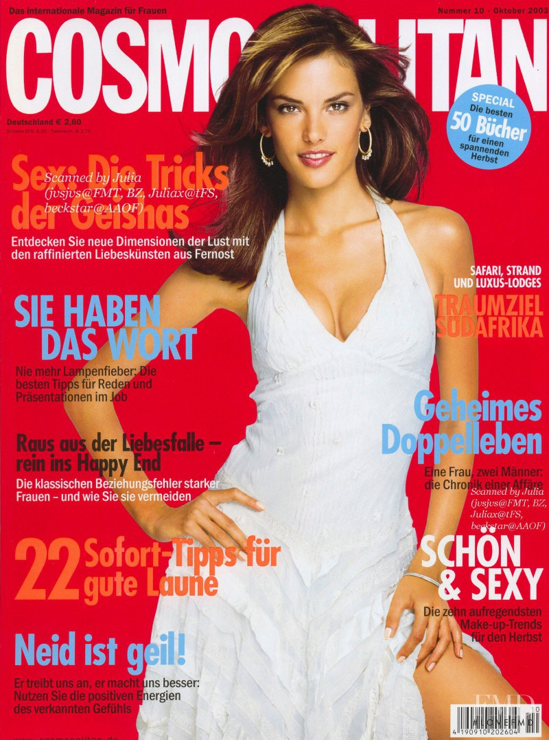 Alessandra Ambrosio featured on the Cosmopolitan Germany cover from October 2003