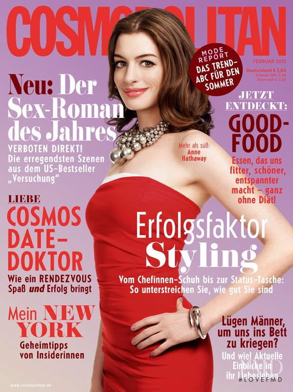 Anne Hathaway featured on the Cosmopolitan Germany cover from February 2013