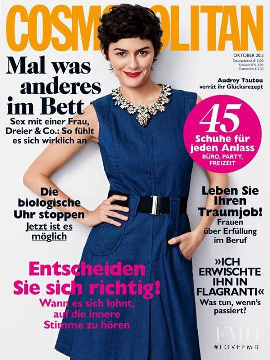 Audrey Tautou featured on the Cosmopolitan Germany cover from October 2013