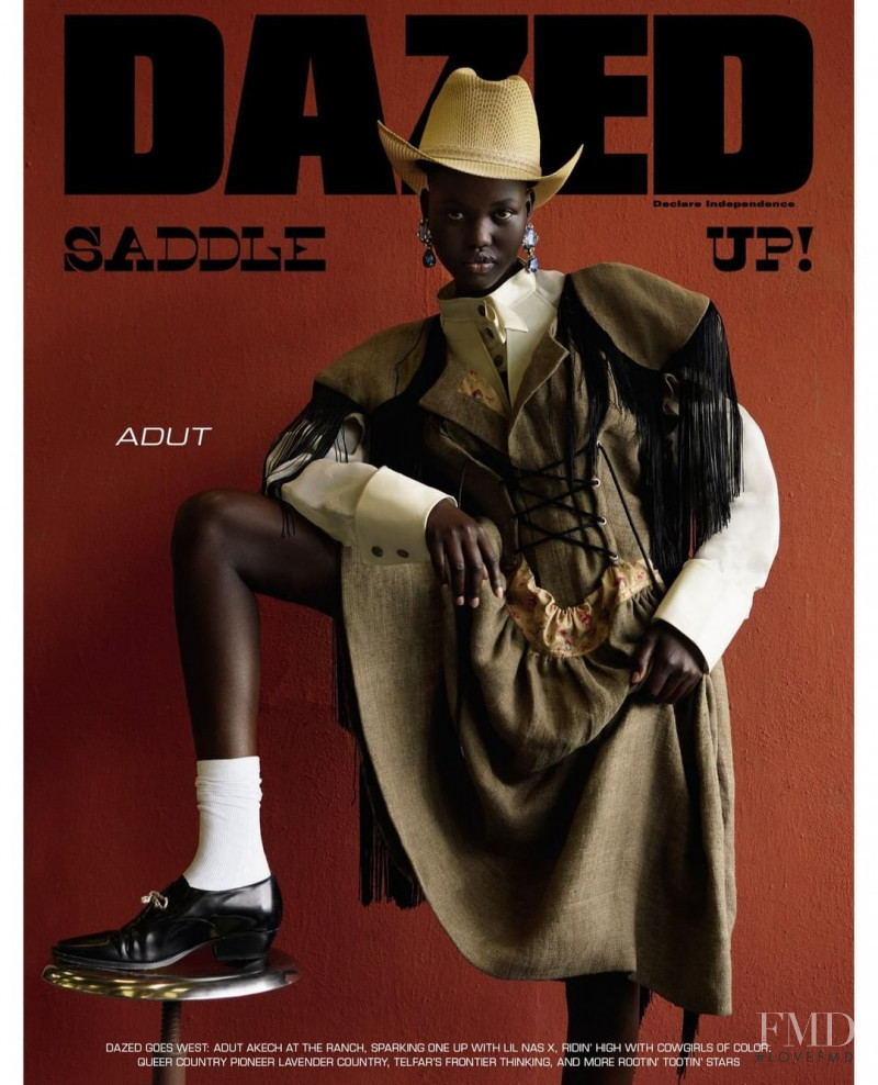 Adut Akech Bior featured on the Dazed cover from August 2019