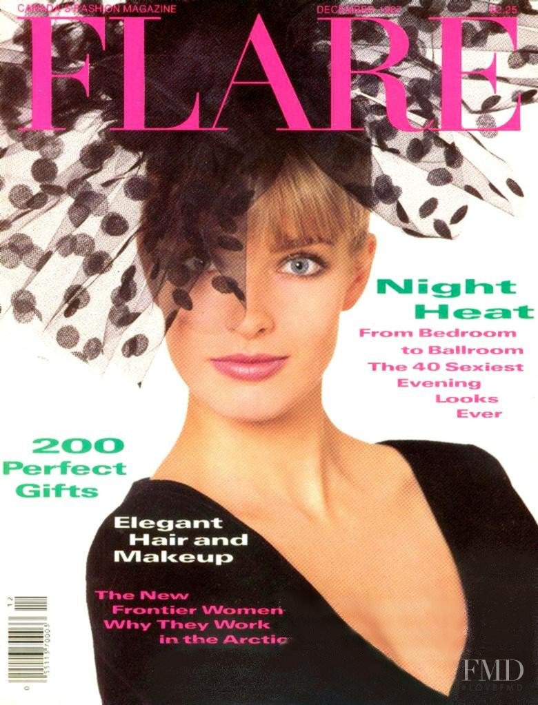 Jeanette Hallen featured on the Flare Canada cover from December 1983