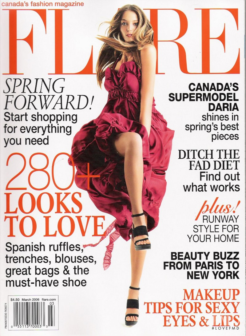 Daria Werbowy featured on the Flare Canada cover from March 2006