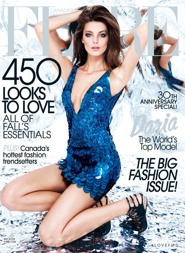 Daria Werbowy featured on the Flare Canada cover from September 2009