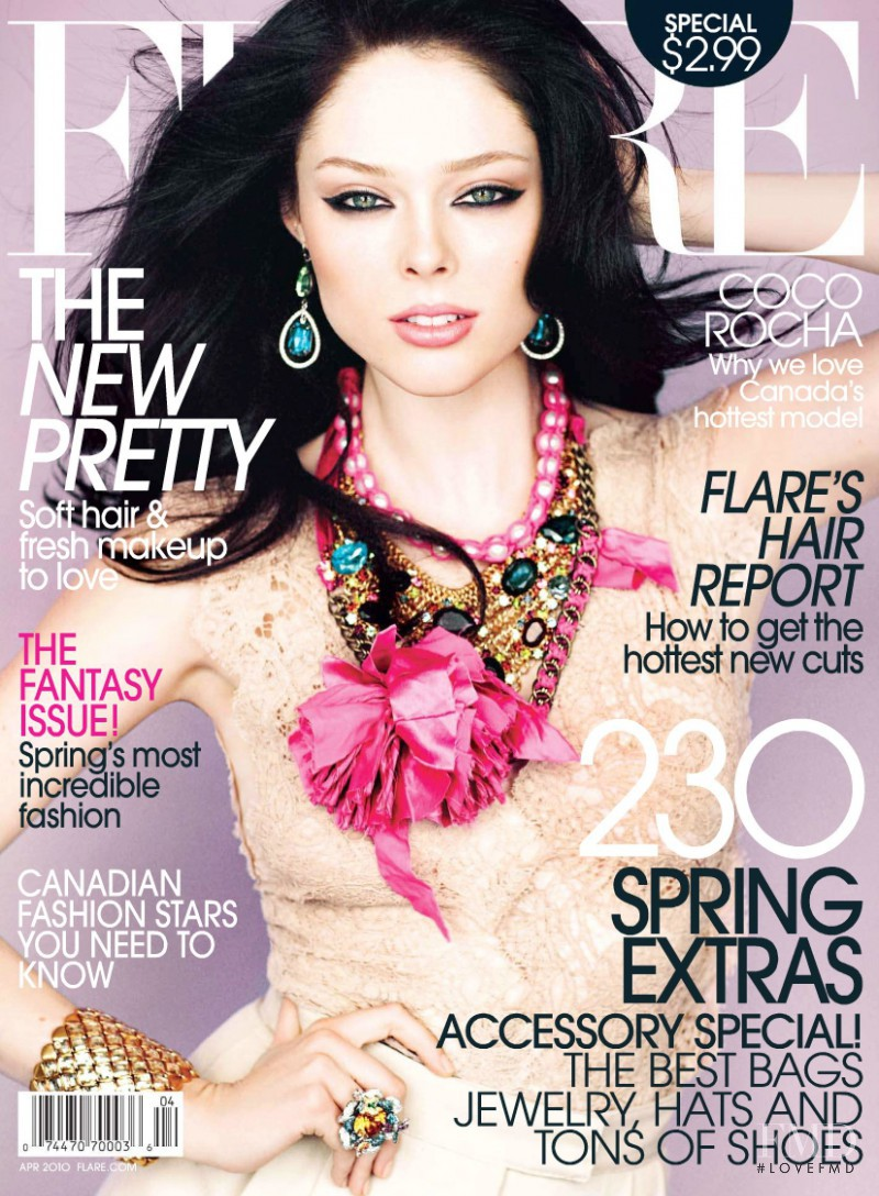 Coco Rocha featured on the Flare Canada cover from April 2010