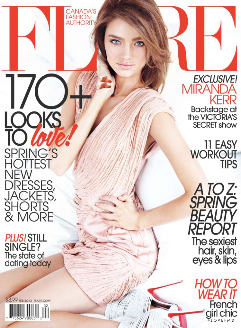 Miranda Kerr featured on the Flare Canada cover from February 2010