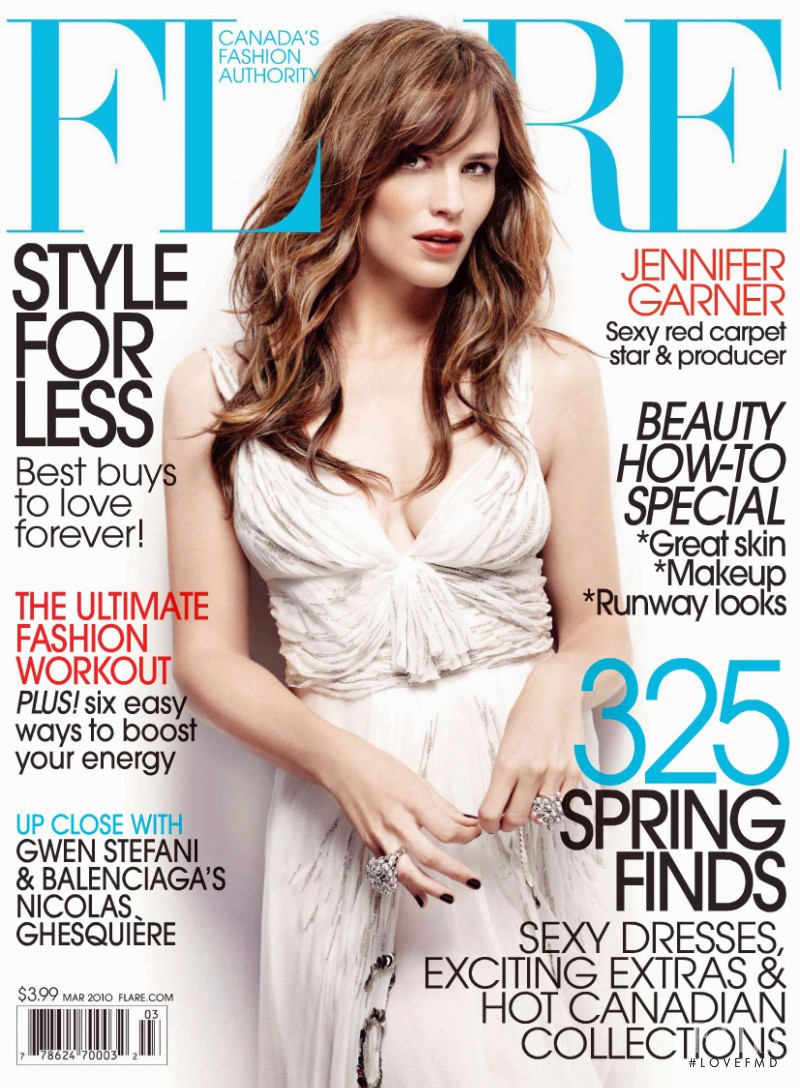 Jennifer Garner featured on the Flare Canada cover from March 2010