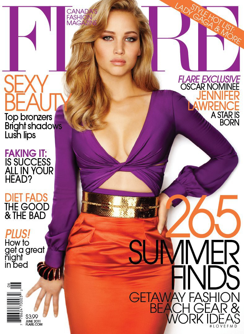 Jennifer Lawrence featured on the Flare Canada cover from June 2011