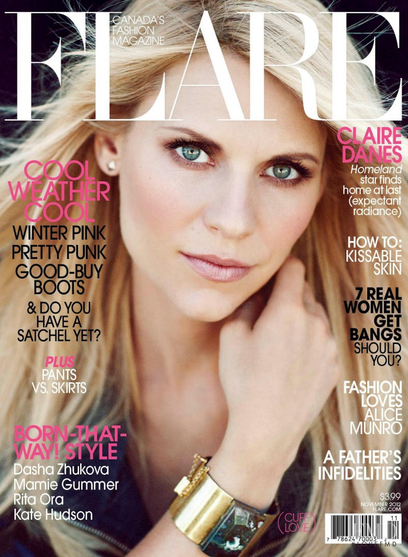 Claire Danes featured on the Flare Canada cover from November 2012