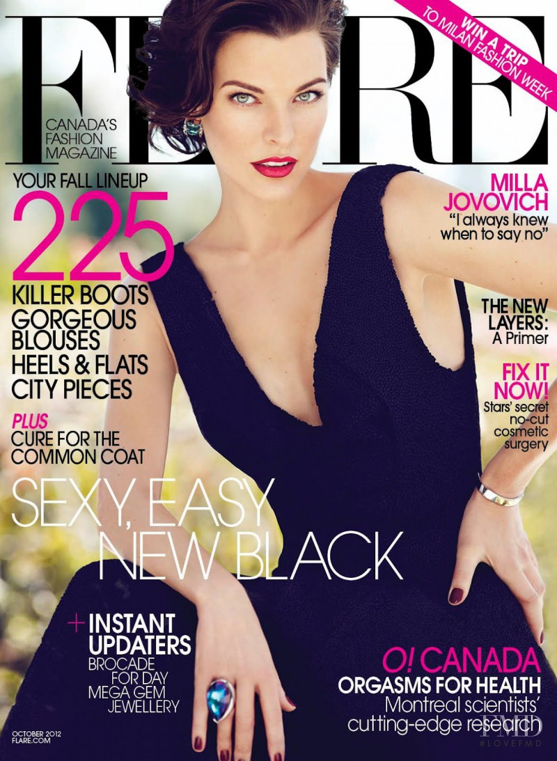 Milla Jovovich featured on the Flare Canada cover from October 2012