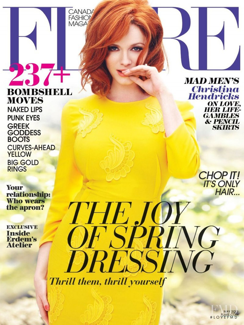 Christina Hendricks featured on the Flare Canada cover from May 2013