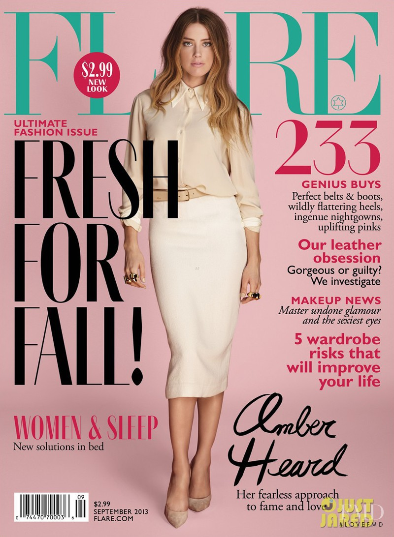 Amber Heard featured on the Flare Canada cover from September 2013