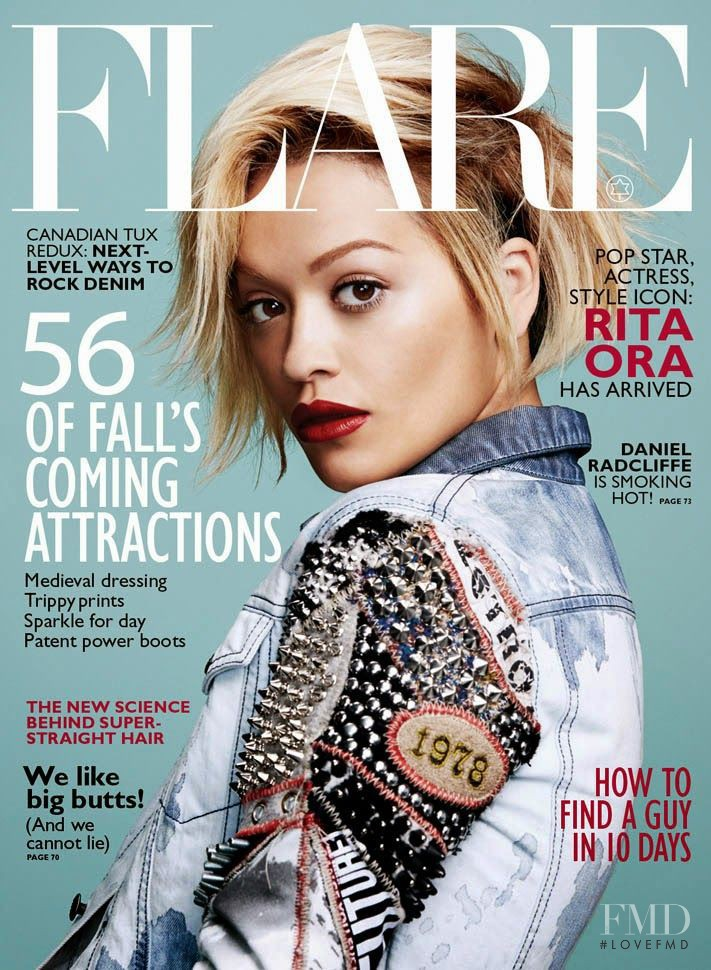 Rita Ora featured on the Flare Canada cover from August 2014