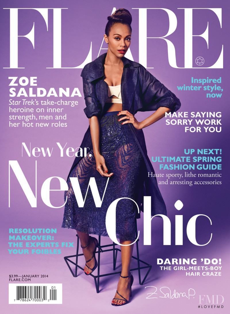 Zoe Saldana featured on the Flare Canada cover from January 2014