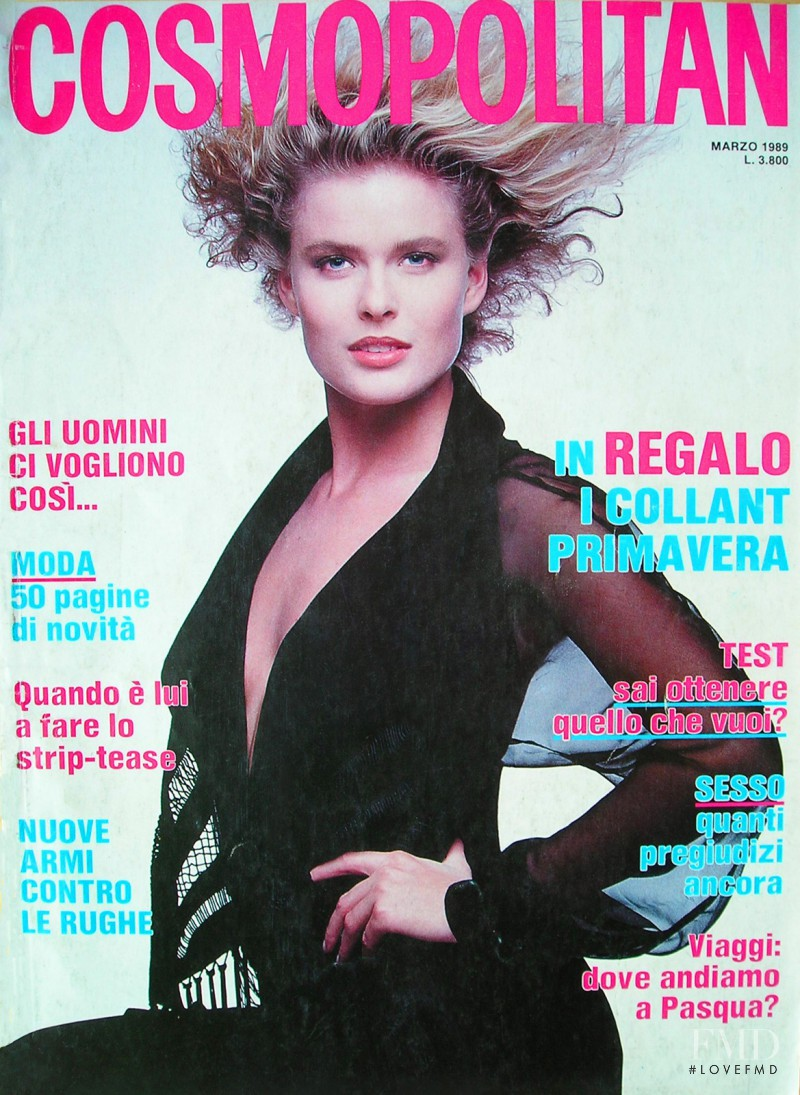 Vendela Maria Kirsebom featured on the Cosmopolitan Italy cover from March 1989