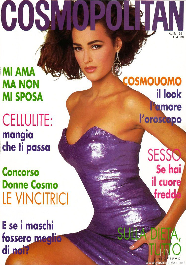 Yasmin Le Bon featured on the Cosmopolitan Italy cover from April 1991