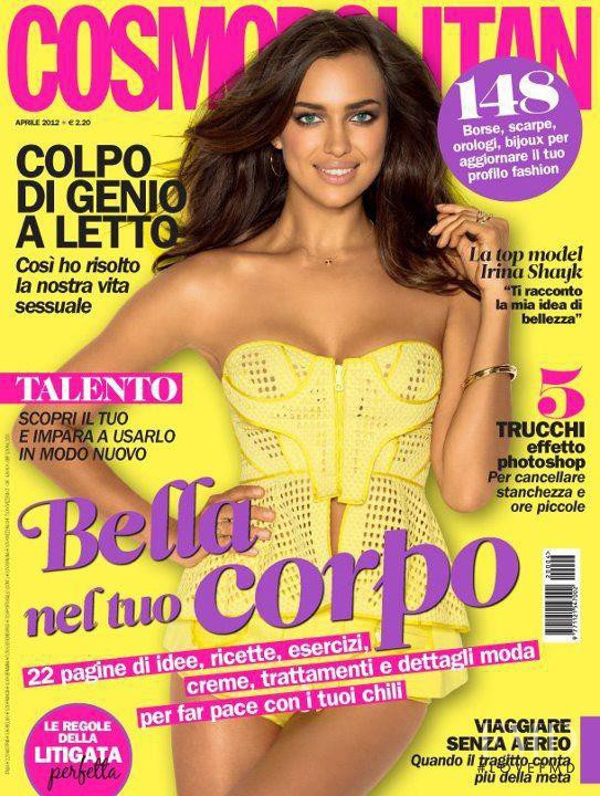 Irina Shayk featured on the Cosmopolitan Italy cover from April 2012