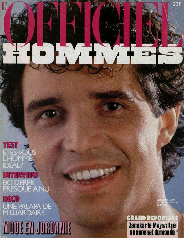 Julien Clerc featured on the L\'Officiel Hommes cover from April 1985