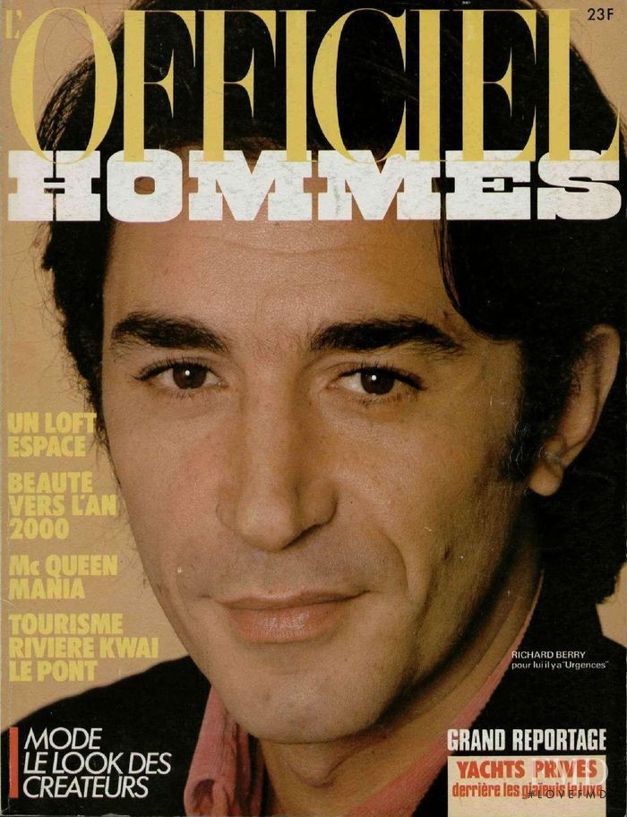 Richard Berry featured on the L\'Officiel Hommes cover from February 1985