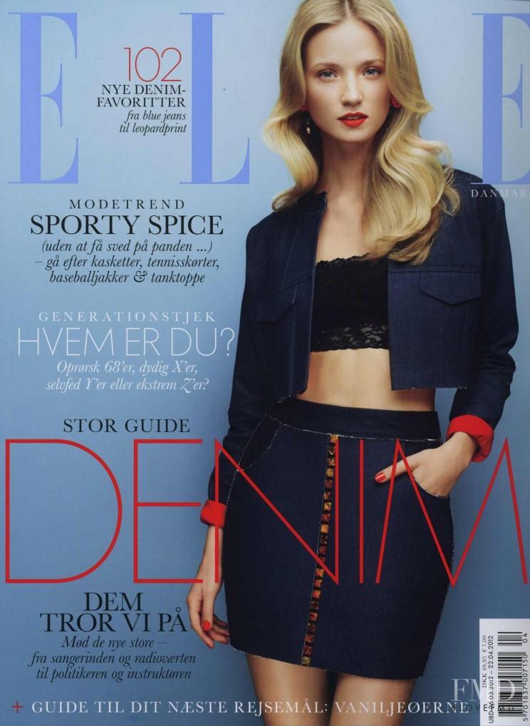 Alek Alexeyeva featured on the Elle Denmark cover from April 2012