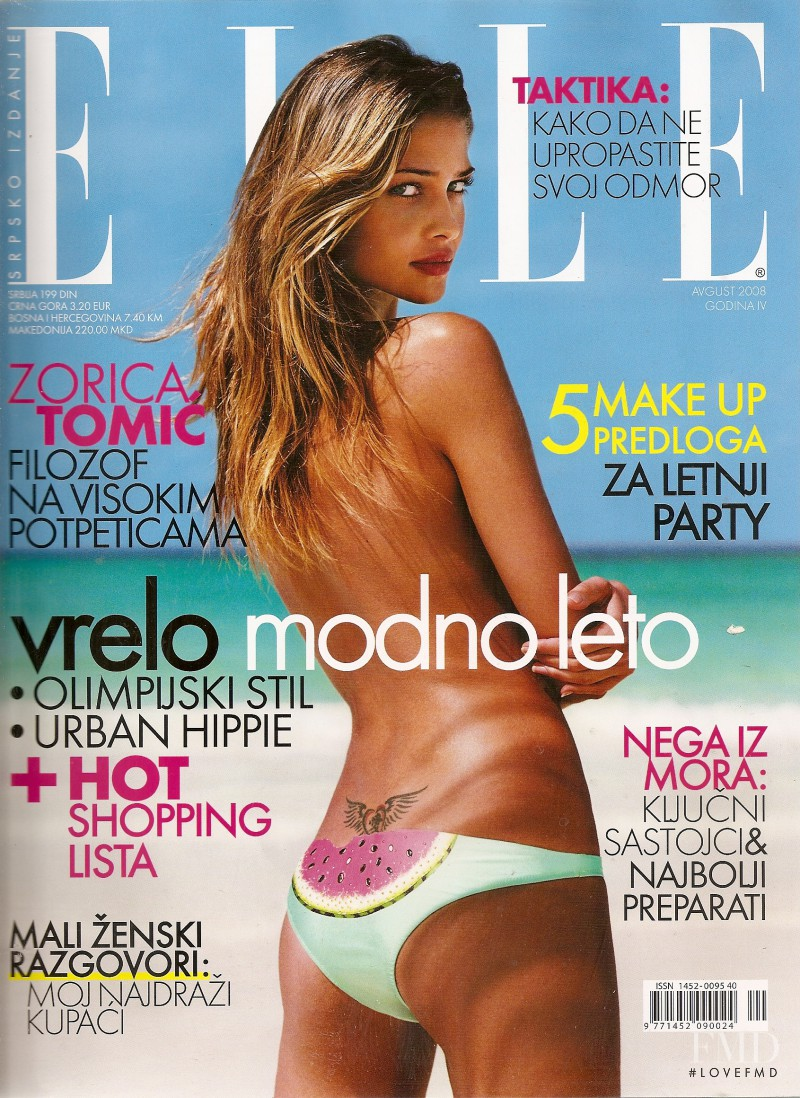 Ana Beatriz Barros featured on the Elle Serbia cover from August 2008