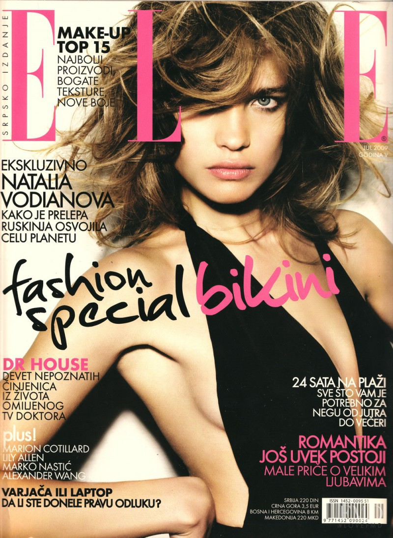Natalia Vodianova featured on the Elle Serbia cover from July 2009