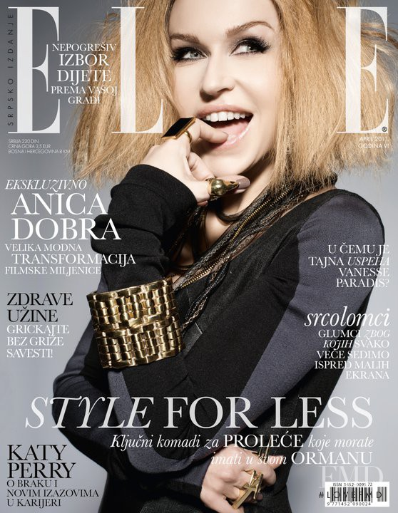 Anica Dobra featured on the Elle Serbia cover from April 2011