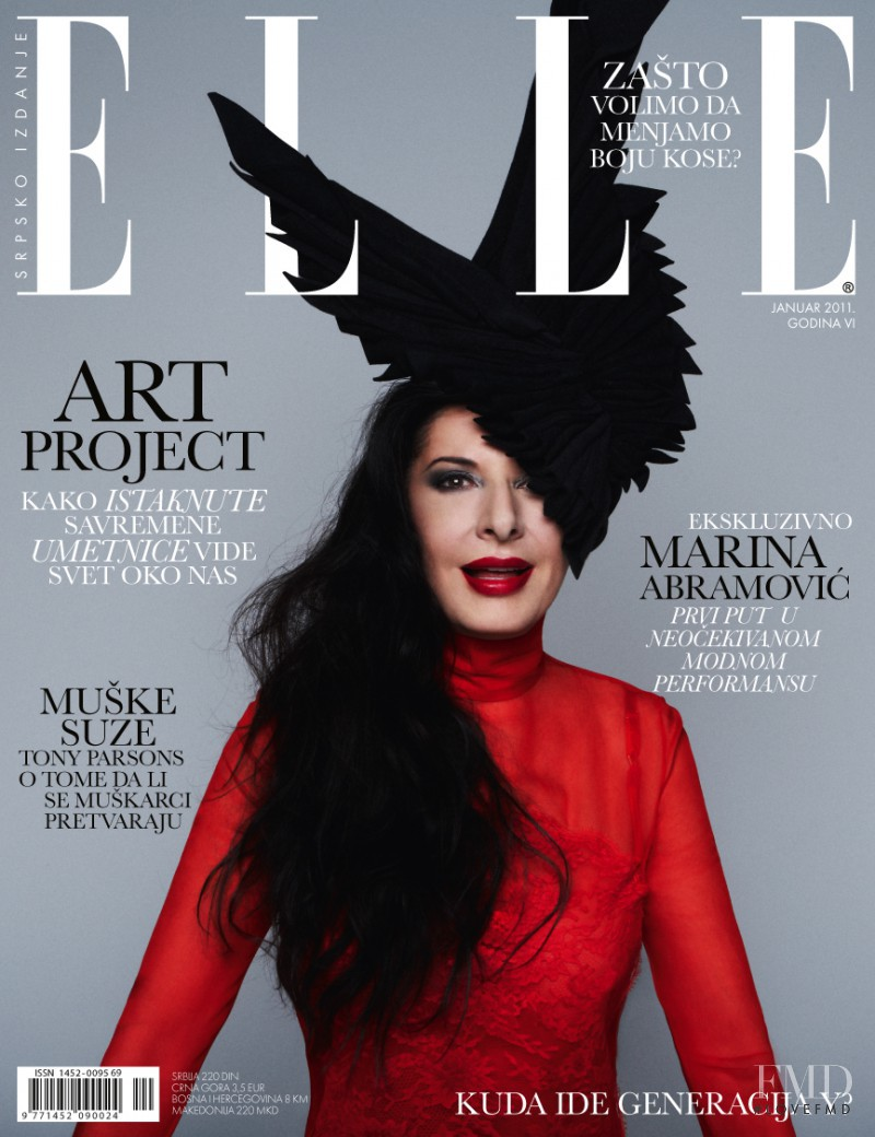 Marina Abramović featured on the Elle Serbia cover from January 2011