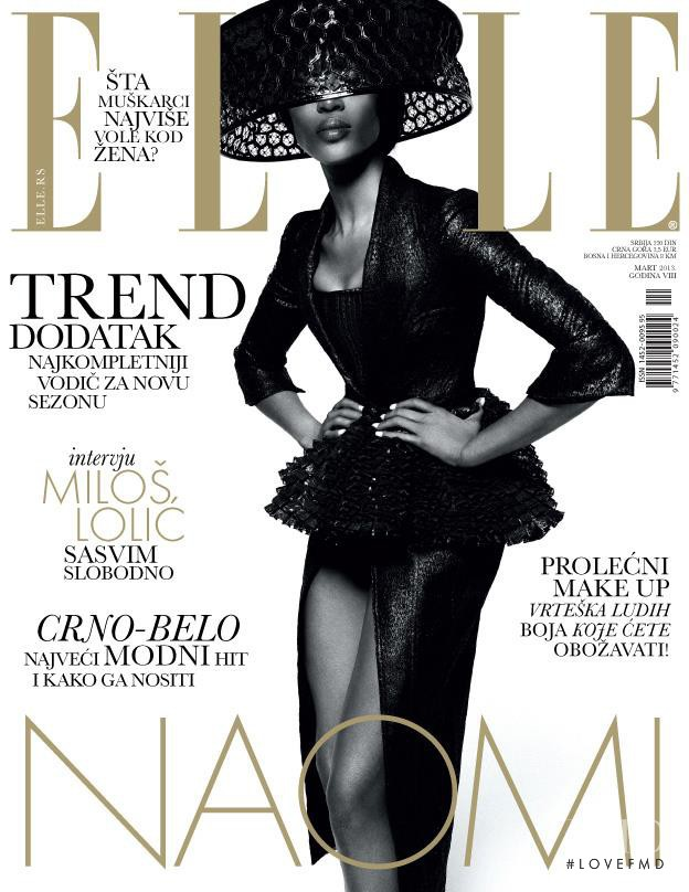 Naomi Campbell featured on the Elle Serbia cover from March 2013