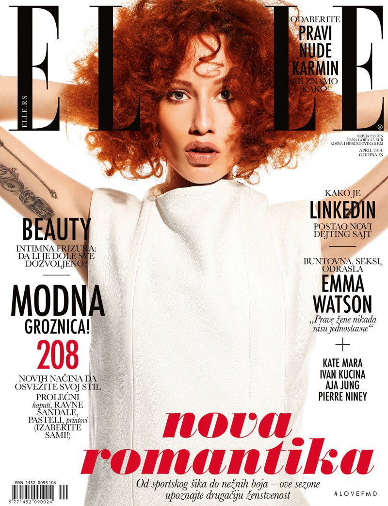 Marina Krtinic featured on the Elle Serbia cover from April 2014