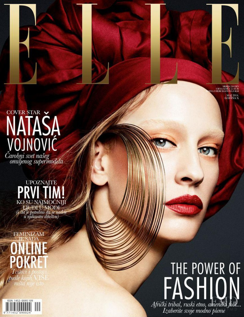 Natasa Vojnovic featured on the Elle Serbia cover from May 2014