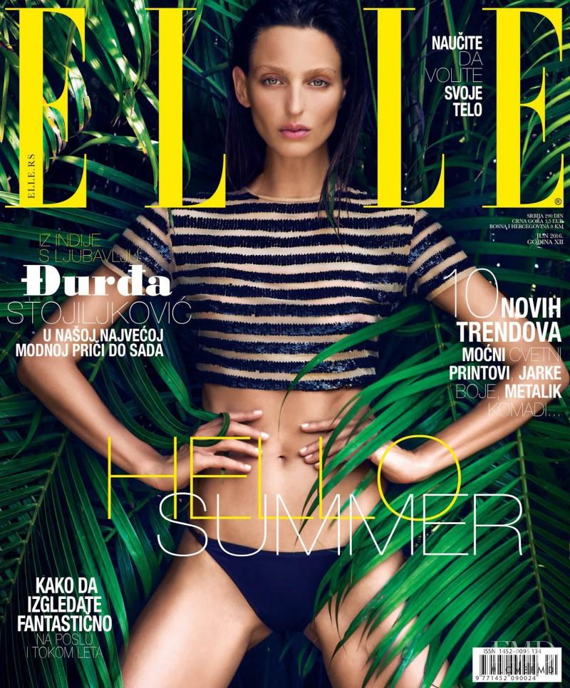 Georgina Stojiljkovic featured on the Elle Serbia cover from June 2016