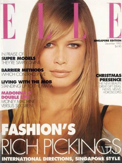 Claudia Schiffer featured on the Elle Singapore cover from December 1993
