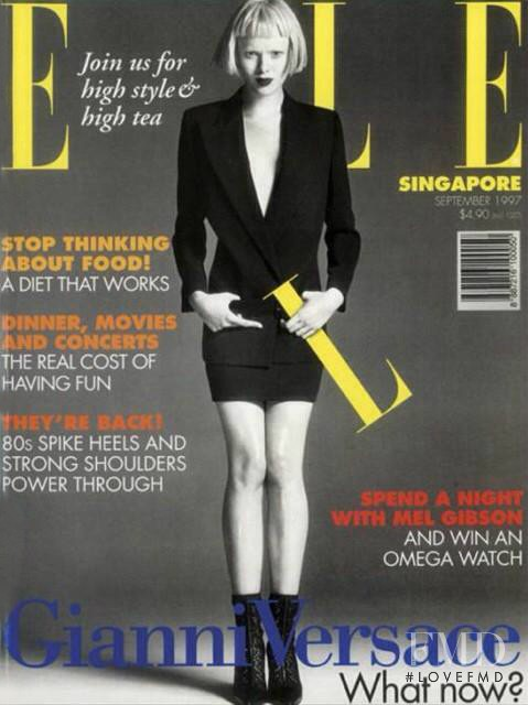 Karen Elson featured on the Elle Singapore cover from September 1997