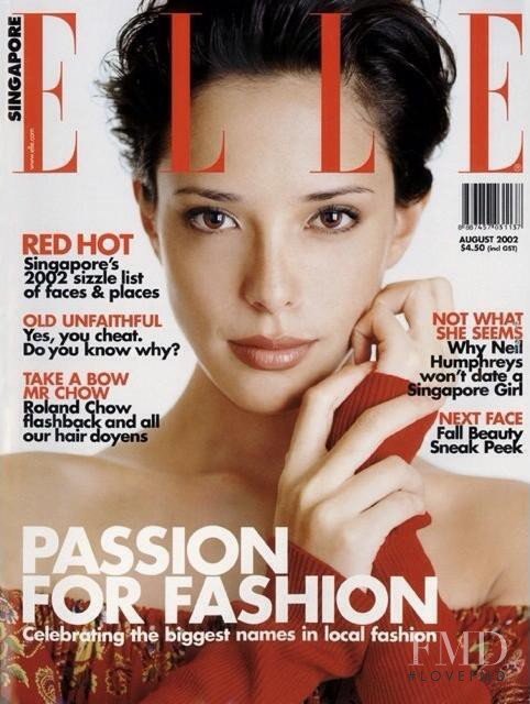 Rebecca Tan featured on the Elle Singapore cover from August 2002