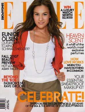 Eunice Olsen featured on the Elle Singapore cover from August 2007