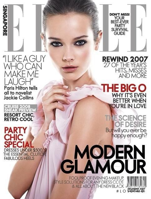 Monika Jagaciak featured on the Elle Singapore cover from December 2007
