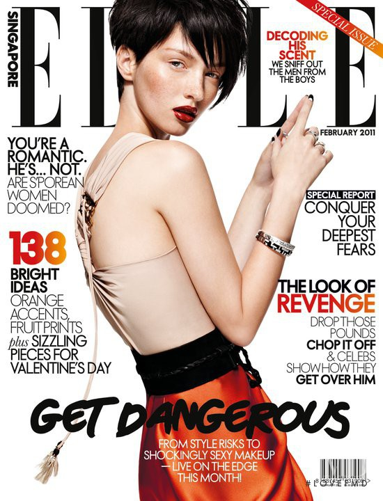 Martina Prekopova featured on the Elle Singapore cover from February 2011