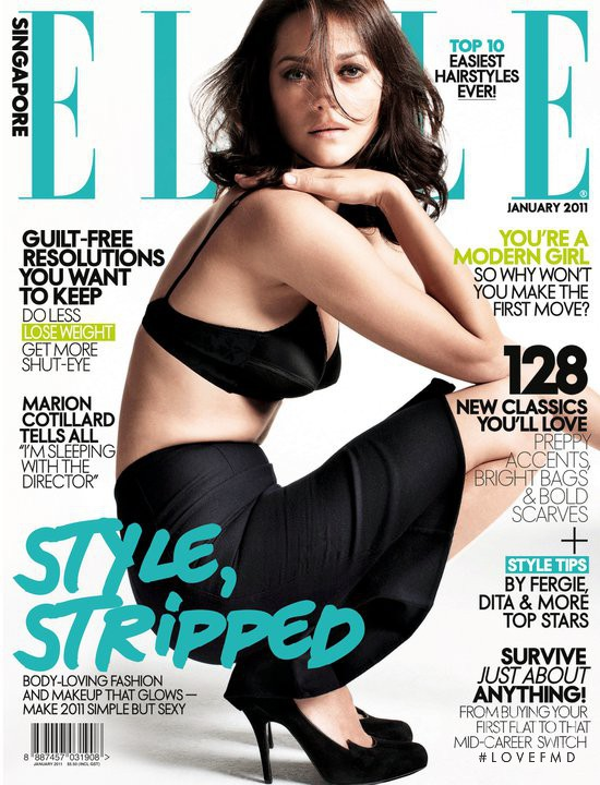 Marion Cotillard featured on the Elle Singapore cover from January 2011