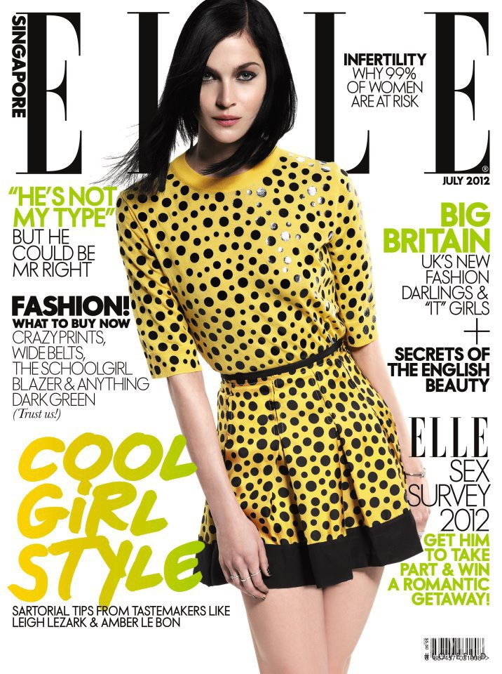 Leigh Lezark featured on the Elle Singapore cover from July 2012