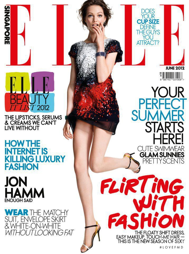 Lindsay Byard featured on the Elle Singapore cover from June 2012