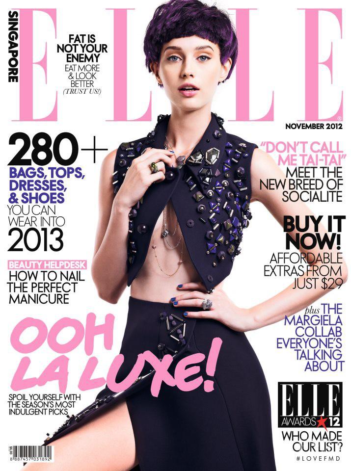 Nikolett Hajdu featured on the Elle Singapore cover from November 2012