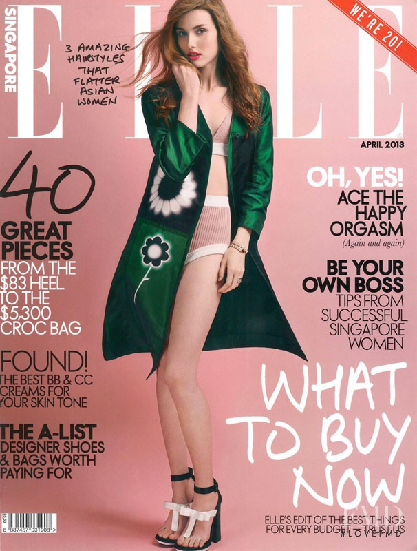 Jasmin Jalo featured on the Elle Singapore cover from April 2013