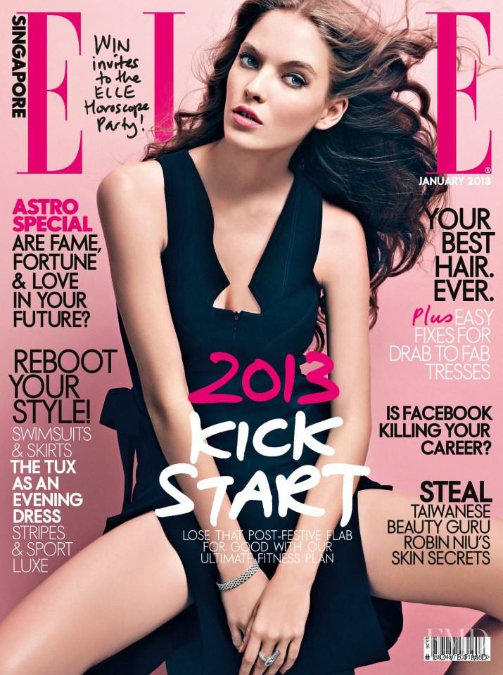 Anastasia Kolganova featured on the Elle Singapore cover from January 2013