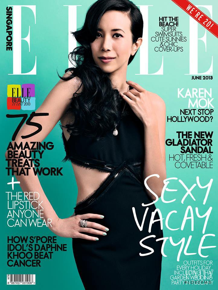 Karen Mok featured on the Elle Singapore cover from June 2013